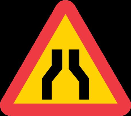 A5-1-varning-avsmalnande-vag