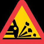 Varning för stenskott