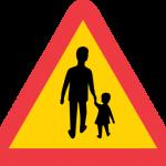 Varning för gående