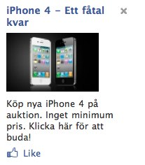 Ziinga annonserar om billig iPhone 4 på Facebook