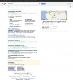 Centerpartiet i Google 3 mars 2013