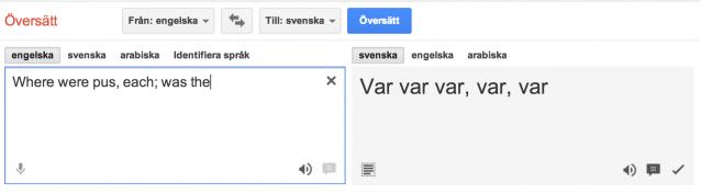 Where were pus, each; was the översätts till var, var, var, var, var